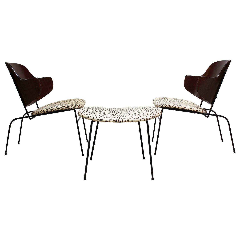 Rare IB Kofod Larsen Penguin Chairs and Ottoman in Leopard Print