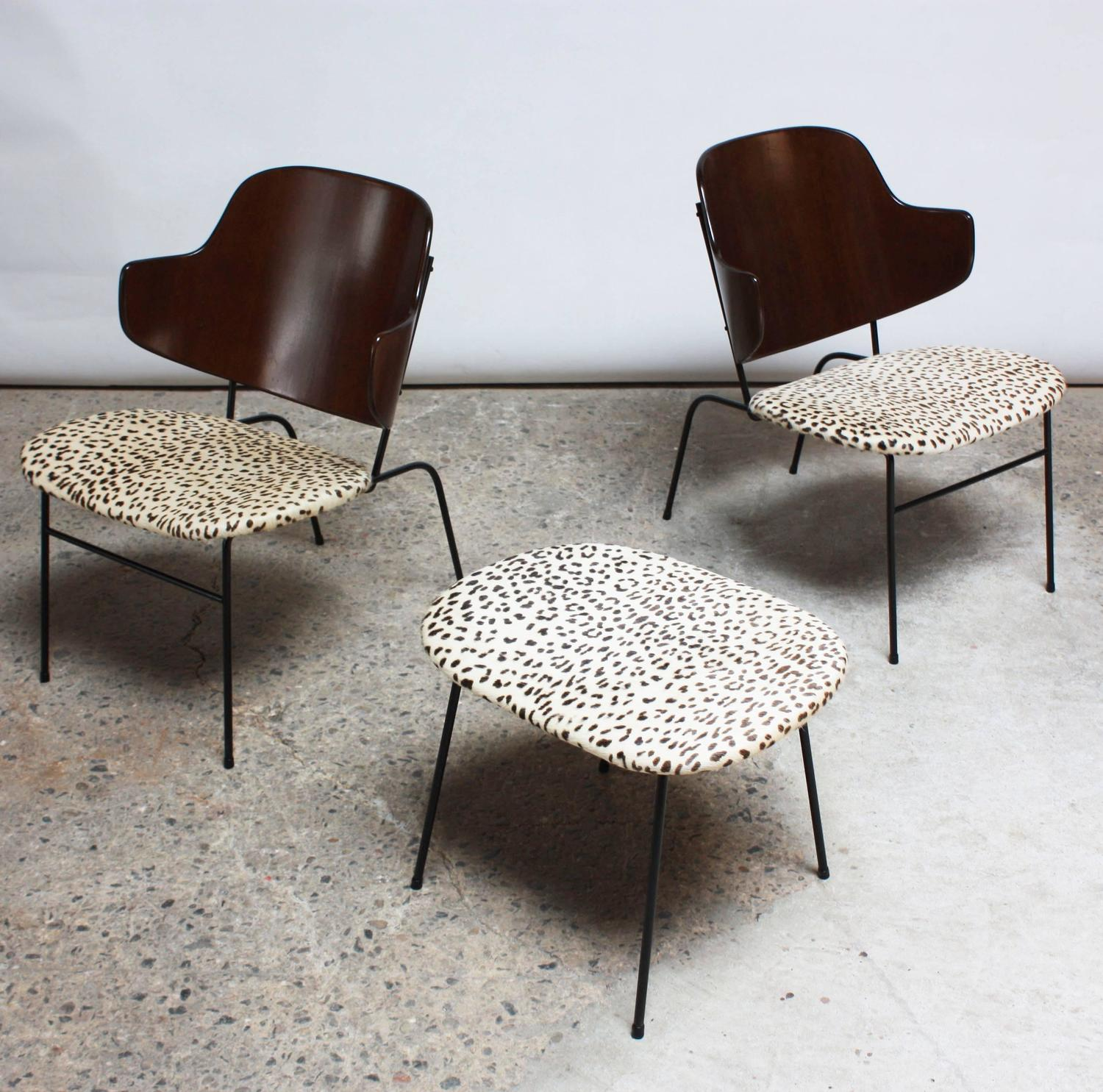 Rare IB Kofod Larsen Penguin Chairs and Ottoman in Leopard Print
