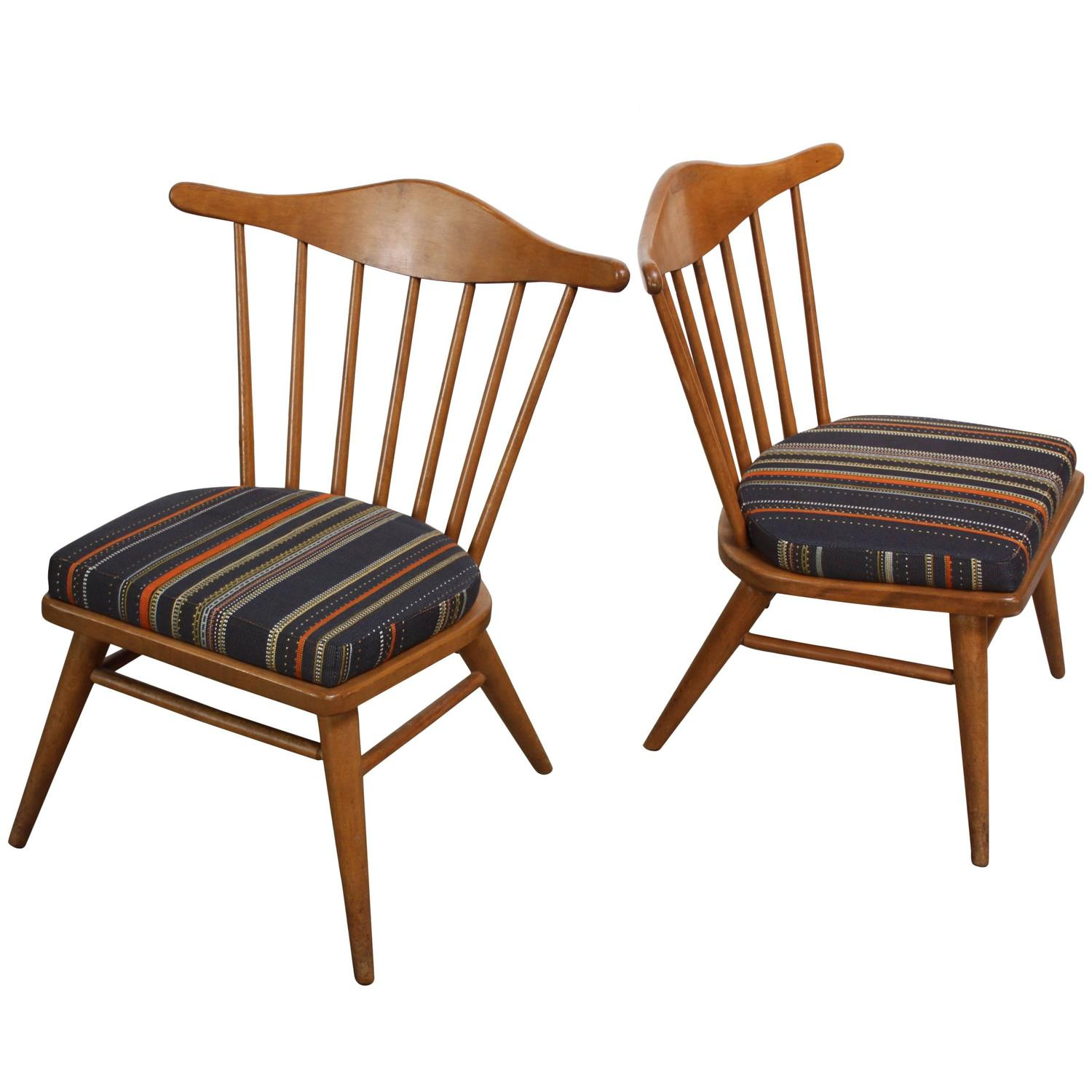 Pair of Conant Ball Spindle Back Accent Chairs Attributed to