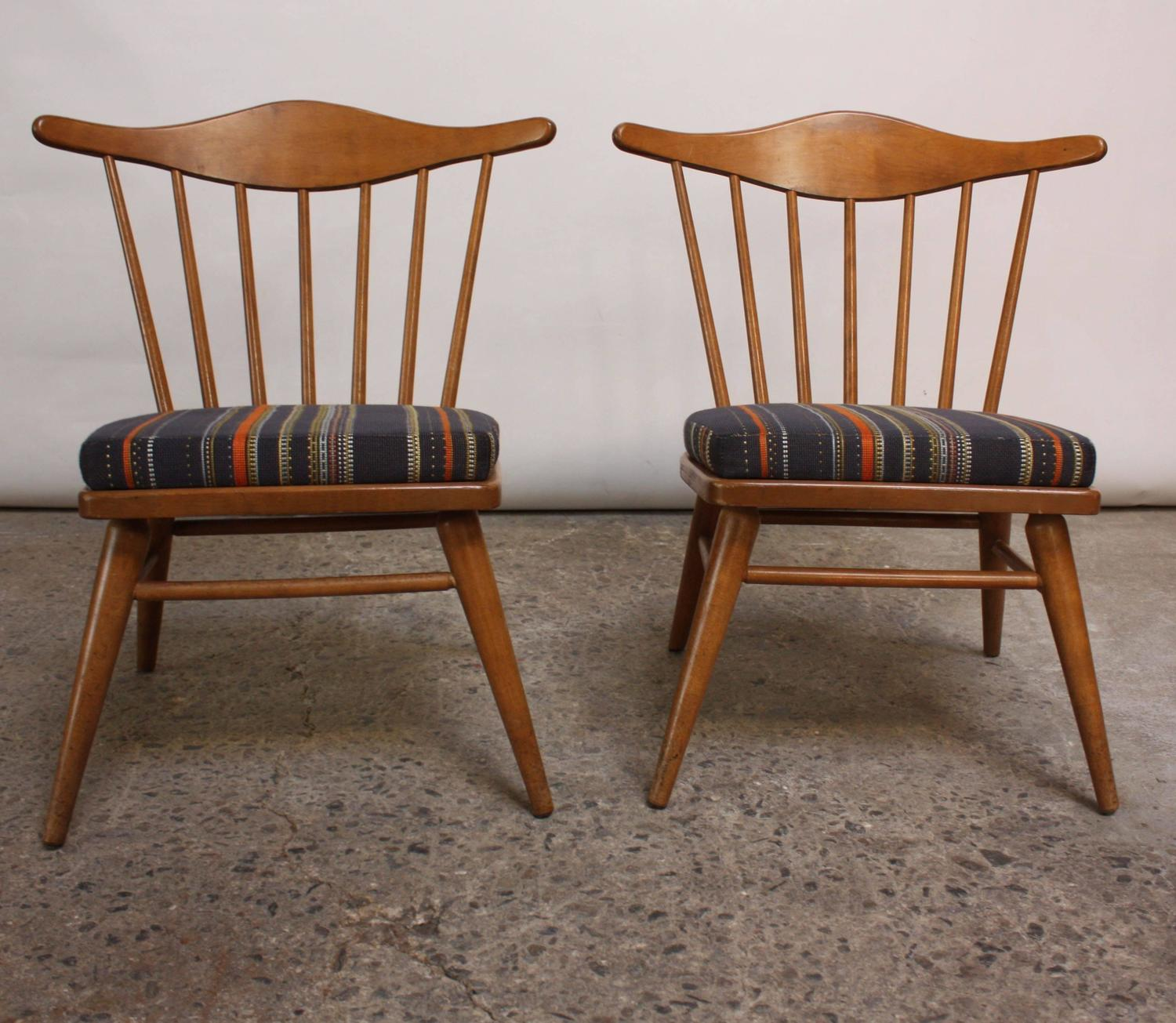 Home / Shop / Chairs / Ottomans / Pair Of Conant Ball Spindle Back Accent  Chairs Attributed To Russel Wright