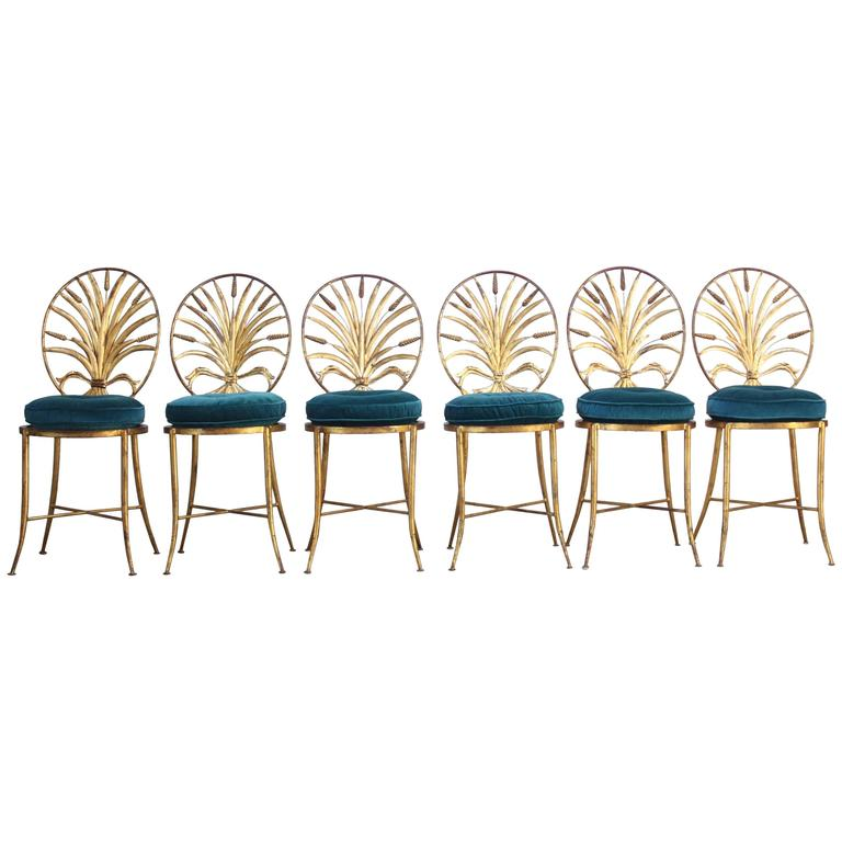Set Of Six Hollywood Regency Style Italian Gilded Chairs By S. Salvadori U2013  Jarontiques