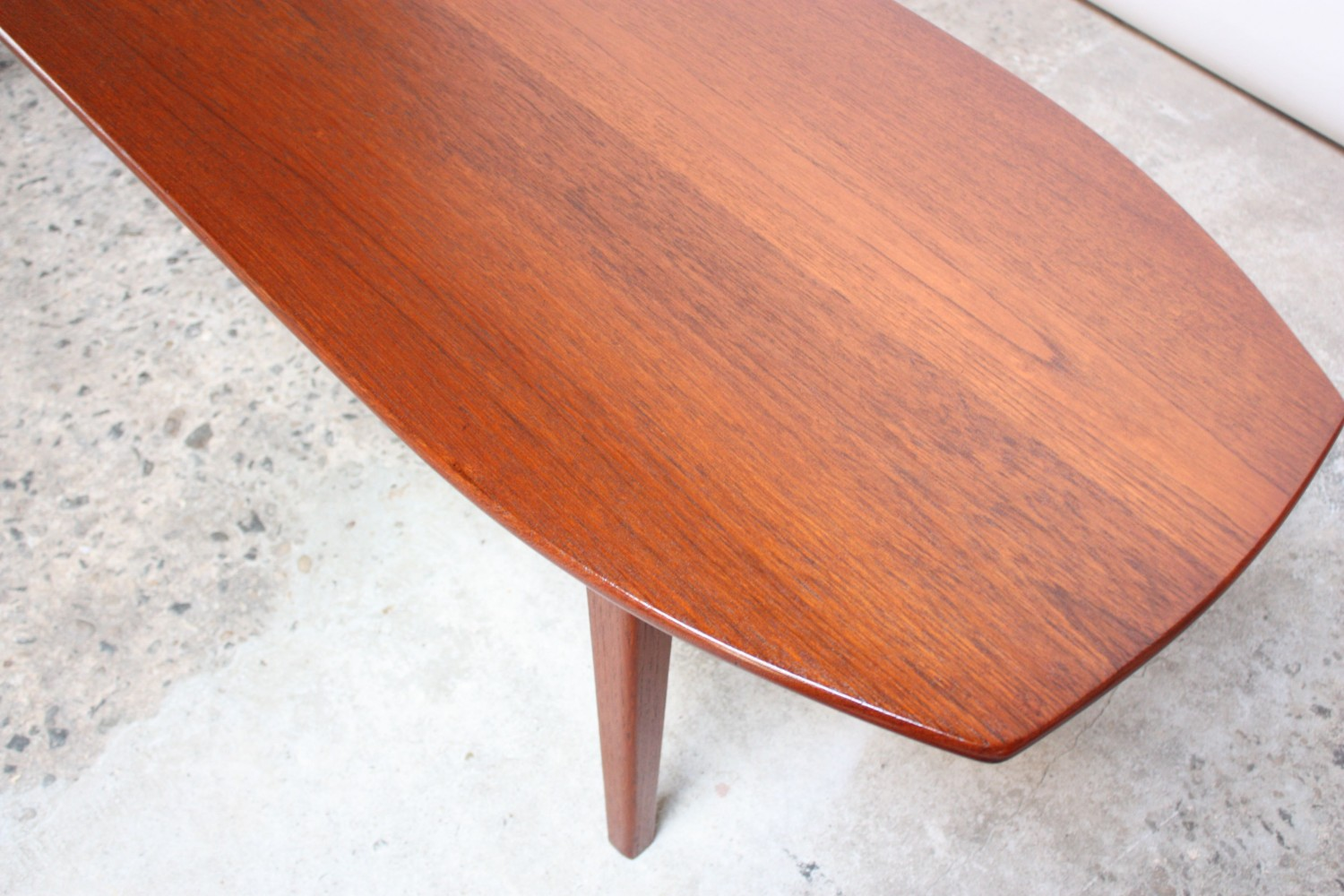 Danish modern teak surfboard coffee table jarontiques Modern teak coffee table