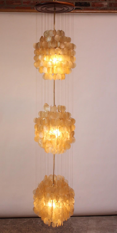 Vintage capiz shell chandelier after verner panton jarontiques home shop lighting vintage capiz shell chandelier after verner panton mozeypictures Images