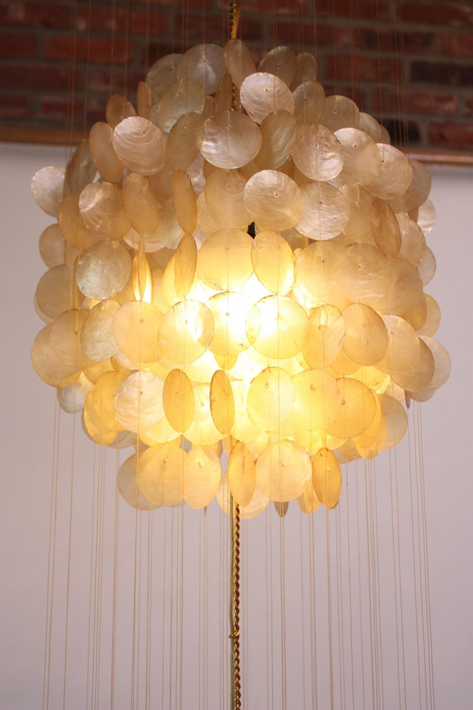 vintage capiz shell chandelier after verner panton jarontiques