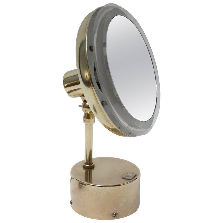 Home Mirrors Midcentury Illuminated Vanity Mirror In Brass And Lucite