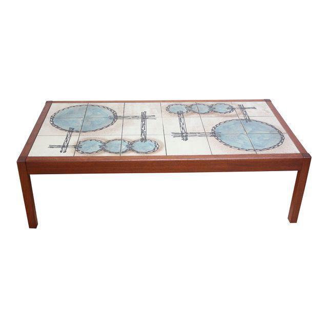 Vintage Teak And Ceramic Tile Top Coffee Table By Gangsø