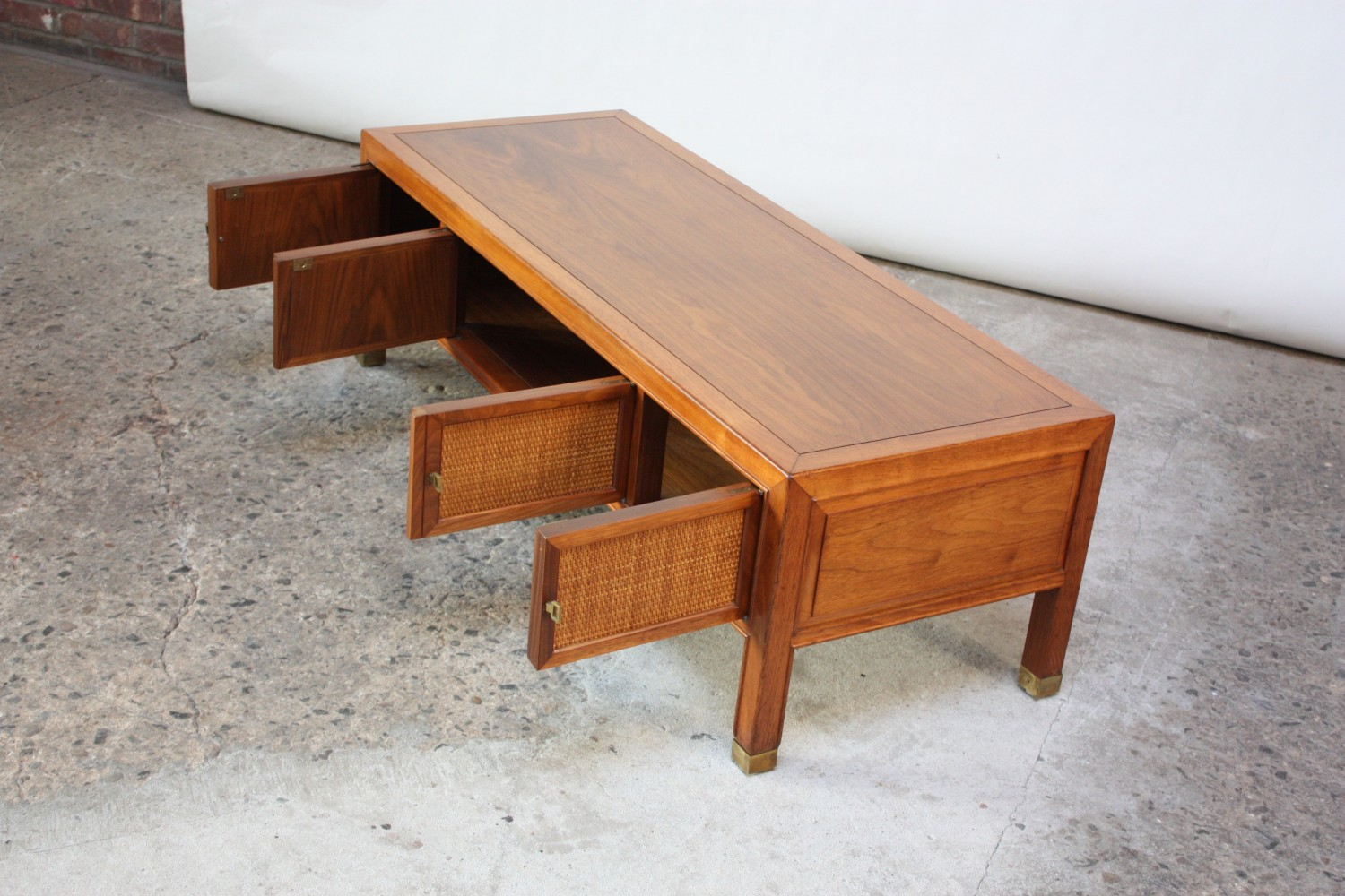 Home Sold Drexel Walnut And Cane Coffee Table Or Cabinet