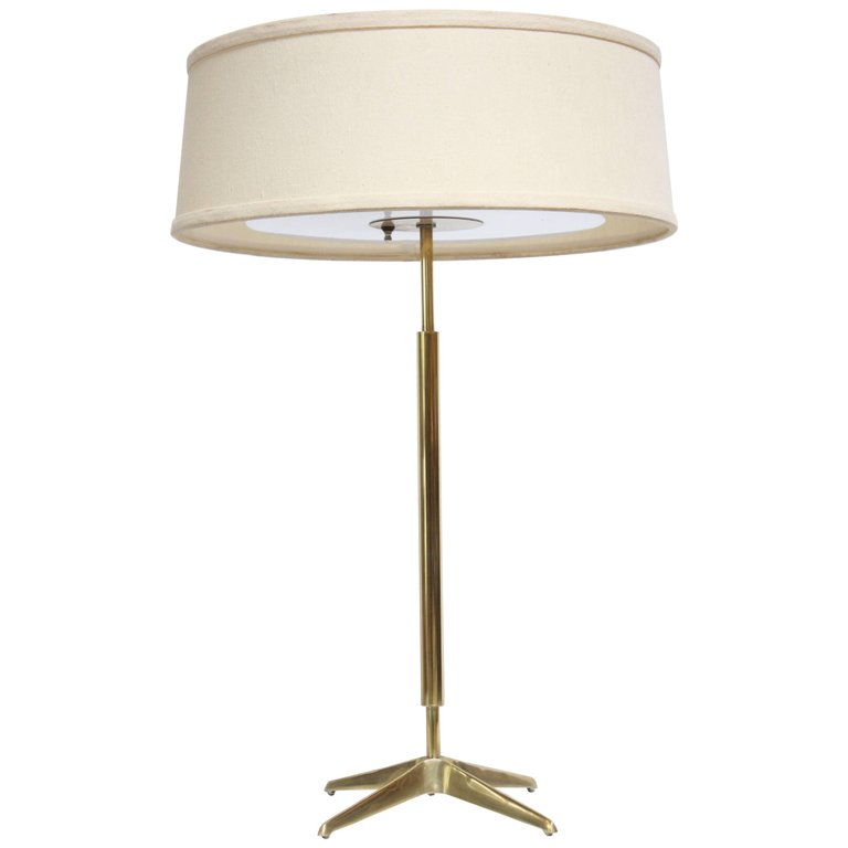 Gerald Thurston For Lightolier Brass Table Lamp With Original Shade U2013  Jarontiques