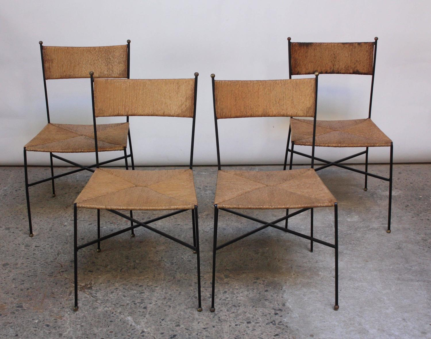Home / Shop / Chairs / Ottomans / Set Of Four Iron And Rush Chairs By Milo  Baughman For Murray Furniture