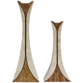 Pair Of Maitland Smith Tesated Stone Candlesticks