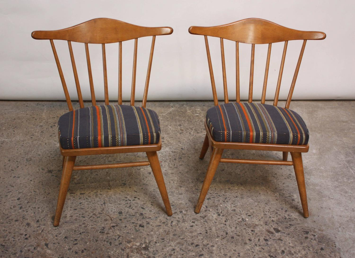 Home Chairs Ottomans Pair Of Conant Ball Spindle Back Accent Attributed To Russel Wright