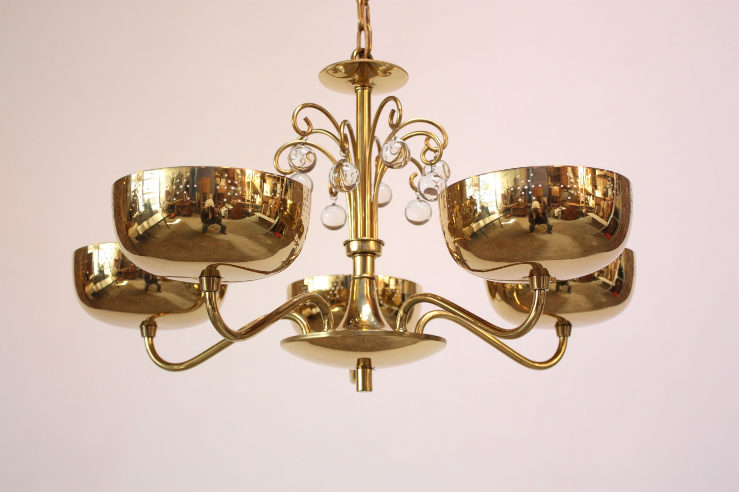 Midcentury Brass Five Fixture Chandelier With Perforated Shades Jarontiques