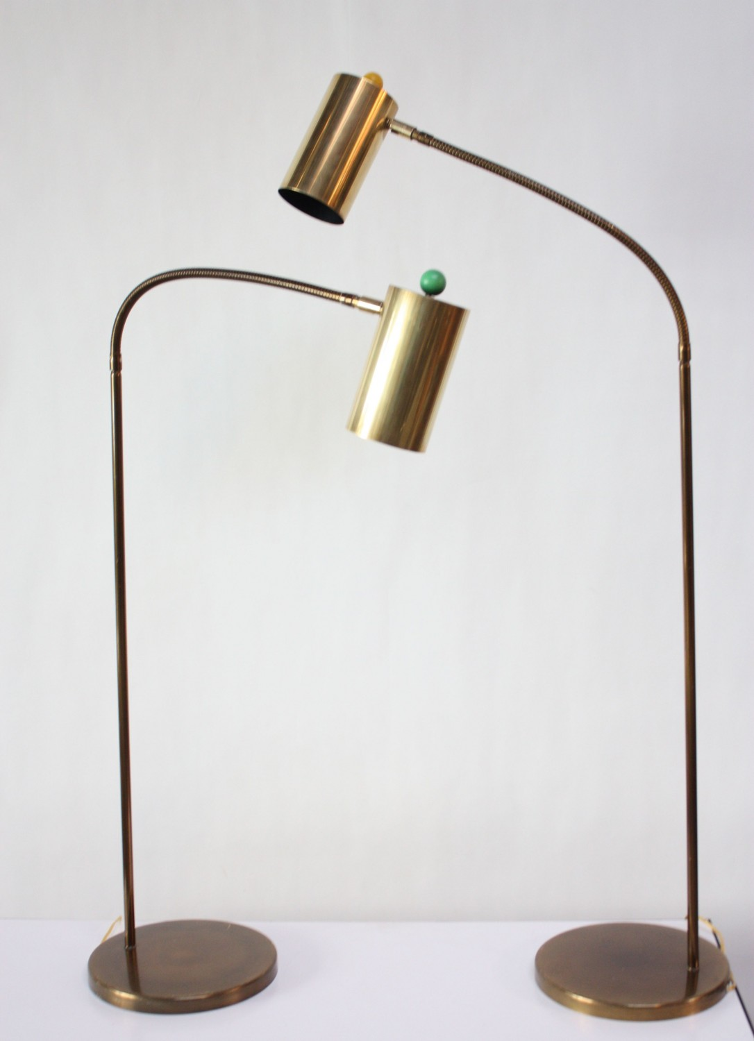 Pair Of Brass Gooseneck Floor Lamps By Koch And Lowy Jarontiques