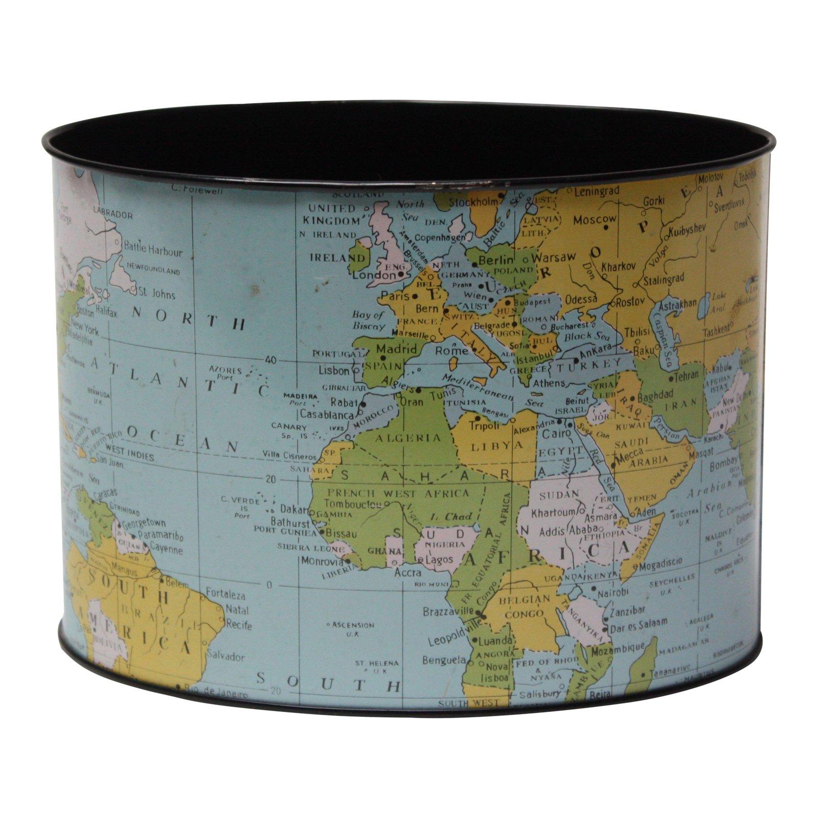 1958 Litho Tin World Map Desk Organizer on