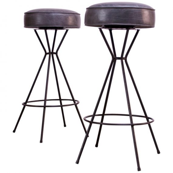 Pair Of Mid Century Modern Wrought Iron And Leather Swivel Bar Stools