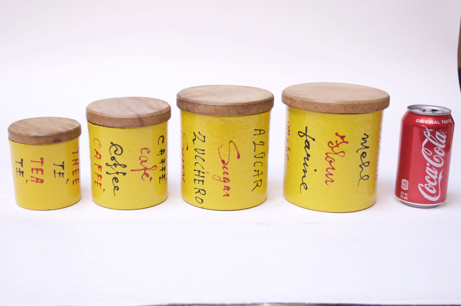 Set of Italian Modern Yellow Enamel Kitchen Canisters by Vallenti