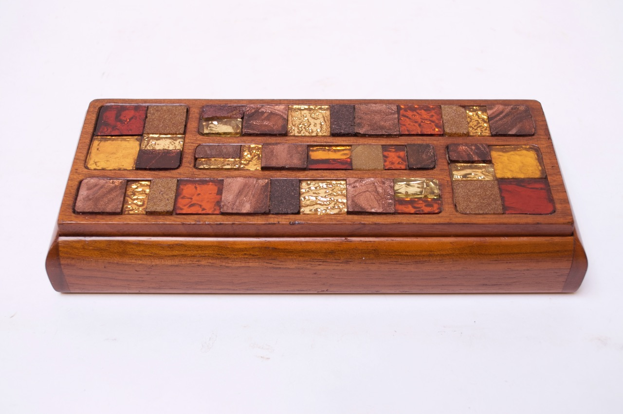 Mid Century Modern Wooden Mosaic Jewelry Box By Lillian Of California Jarontiques